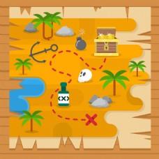 宝藏地图与海盗元素平面设计素材