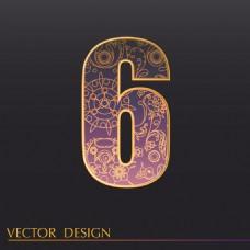 数字6装饰图案背景