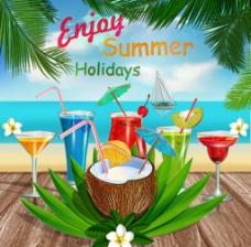 夏天海边度假背景素材