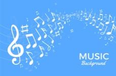 白色音乐符号图案蓝色背景