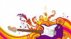 彩色花纹线条吉他背景