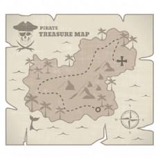 复古风格海盗藏宝地图