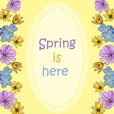 春天主题手绘漂亮花卉边框背景