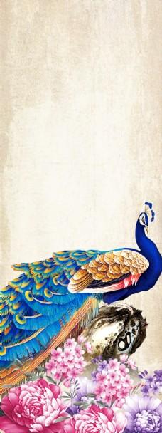 精美花儿孔雀展板背景