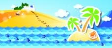 夏季卡通海滩背景