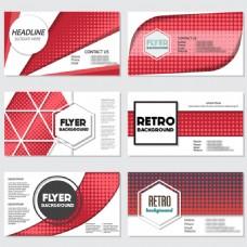 复古风格红色几何图案背景设计