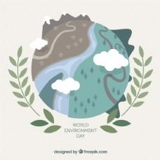 世界环境日背景与不同景观
