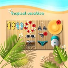 沙滩旅游海报背景图片