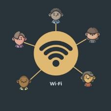 简约Wifi图标人物图标黑色背景
