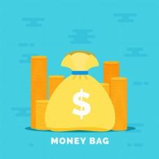 黄色钱袋硬币蓝色背景