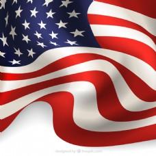 创意波纹美国国旗背景