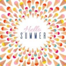 夏天彩色冰淇淋裝飾圖案背景