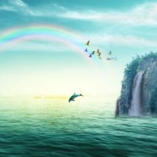 海水海鸥海豚山彩虹素材