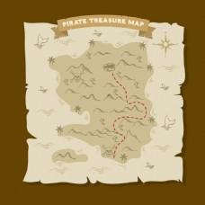 复古风格海盗宝藏地图