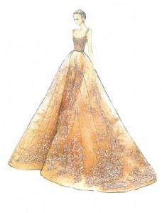 黄色花纹长裙礼服设计图
