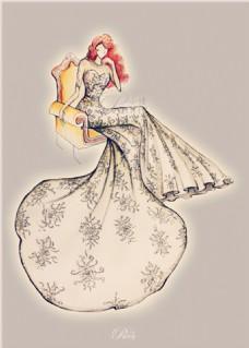 花纹抹胸礼服设计图