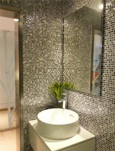 现代简约卫生间洗手台背景墙设计图