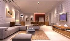 现代宽敞客厅模型效果图