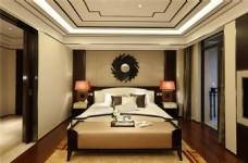 时尚卧室大床背景墙设计图