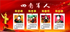 红色党背景四有军人宣传活动模板