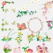 花朵花纹分层素材