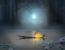 PS合成月色下的江上渔船灯火场景