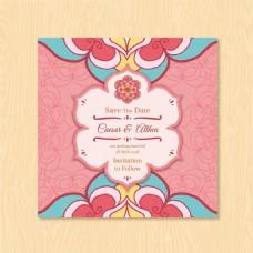 曼陀罗花卉装饰花纹婚礼邀请卡