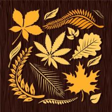 秋天黄叶元素图片