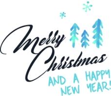 蓝色卡通文字新年圣诞节矢量图标素材