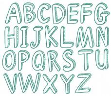 手绘英文字母艺术字设计矢量素材