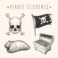 手绘素描风格海盗物品元素矢量素材
