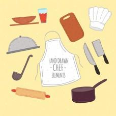 手绘风格各种厨师元素矢量素材
