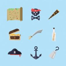手绘各种海盗物品元素矢量素材