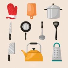 扁平风格各种烹饪元素厨具矢量素材