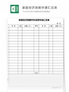 家庭经济困难学生免费申请汇总表