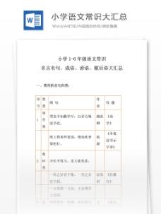 小升初语文:小学1-6年级语文常识、名言名句、成语、谚语、歇后语大汇总
