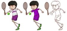 卡通风格打网球的小男孩