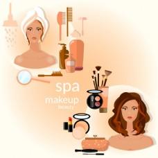 女人和化妆品插画