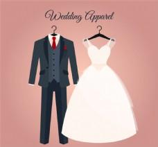 卡通婚礼西装和婚纱矢量素材