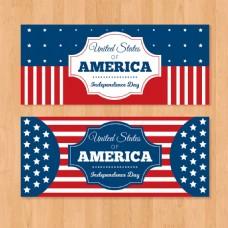 美国独立日创意星条旗横幅