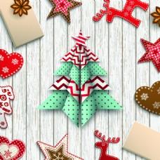 圣诞树温馨圣诞节矢量插画素材