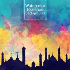 彩色水墨天空城市背景