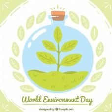 世界环境日背景与瓶子树