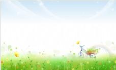 清新花朵草地背景