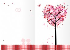 唯美红色心形大树背景