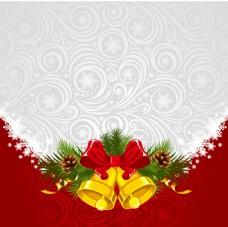金色铃铛白色花纹背景
