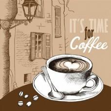 爱心咖啡背景素材