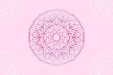 手绘曼陀罗花纹的粉红色背景