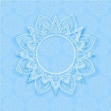 蓝色曼陀罗装饰花边背景