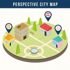 三维视图城市地图矢量素材